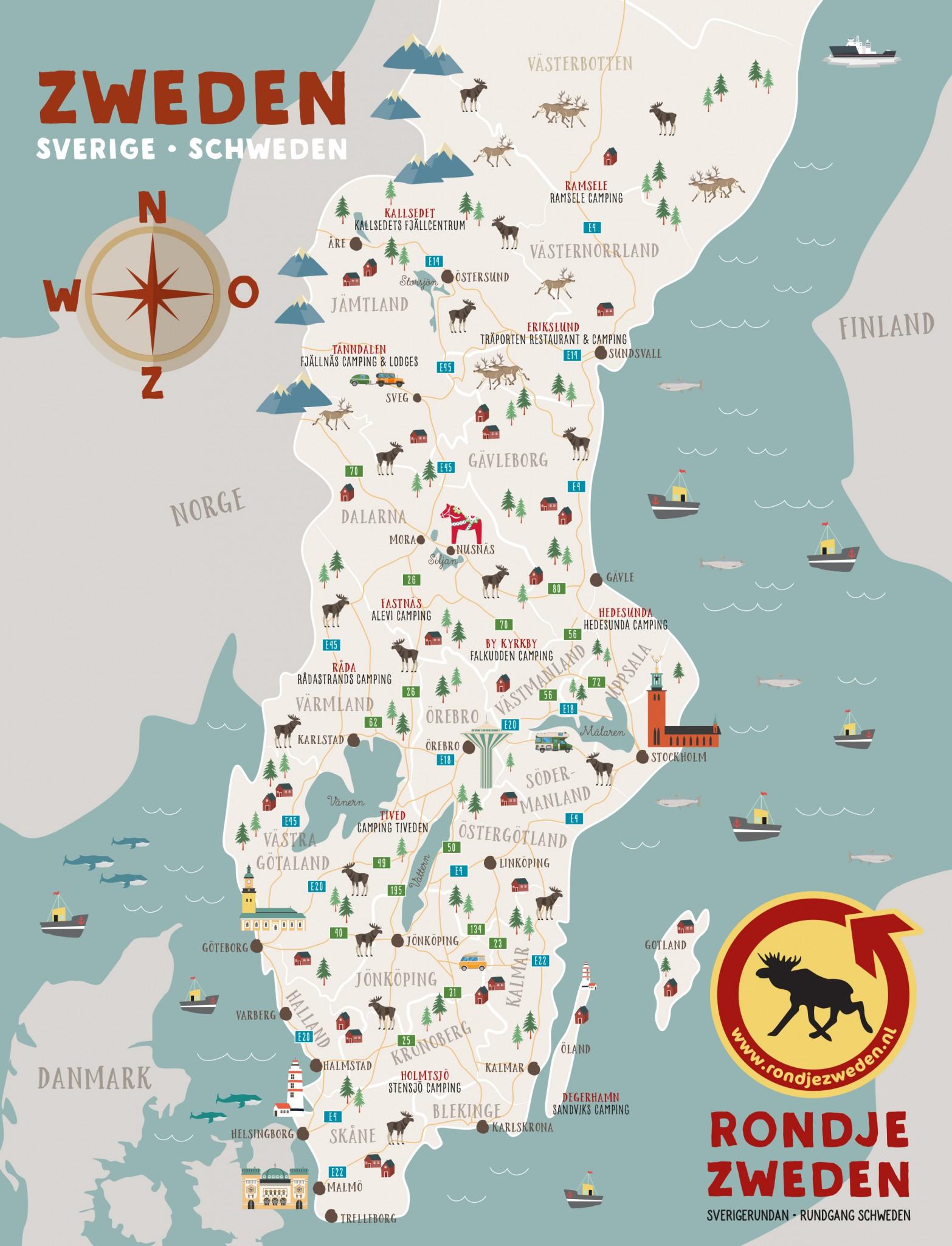 Een overzicht van waar de campings van Rondje Zweden zich bevinden op de kaart.